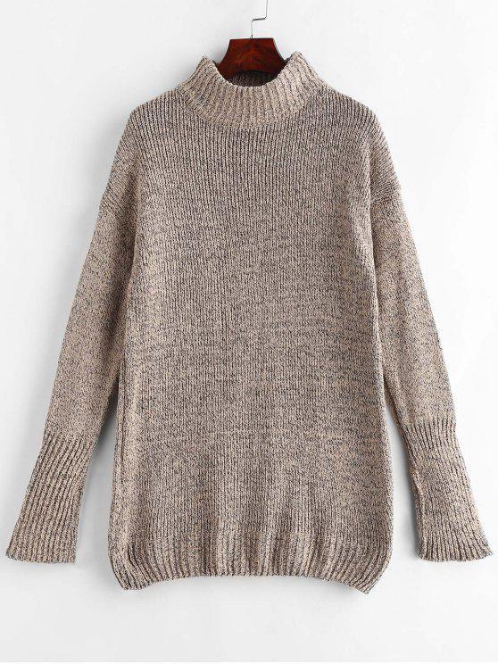 Mock Neck Shift Pullover Kleid - Bräunen Eine Größe
