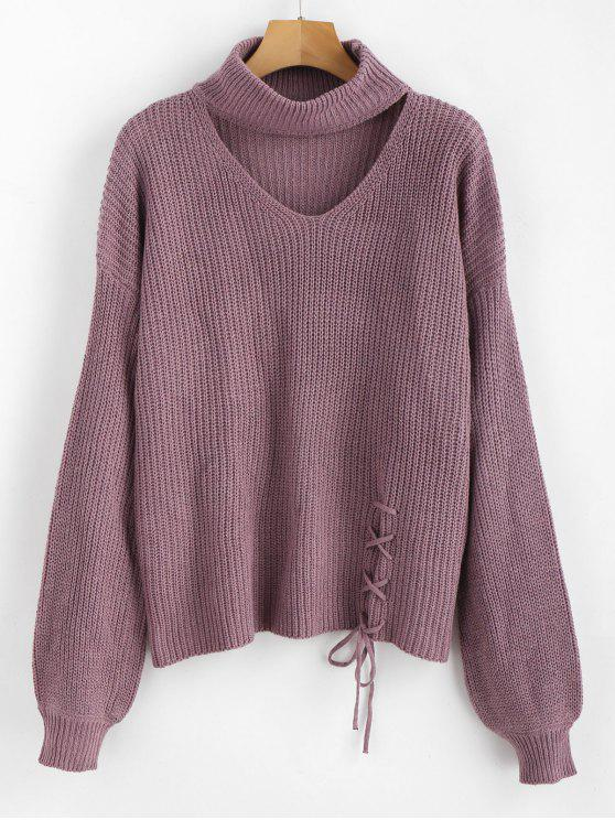 shop ZAFUL Lace Up Plain Keyhole Sweater - WISTERIA PURPLE ONE SIZE