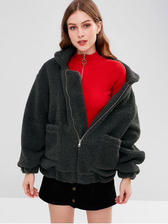 womens Fluffy Zip Up Winter Teddy Coat - SLATE GRAY L