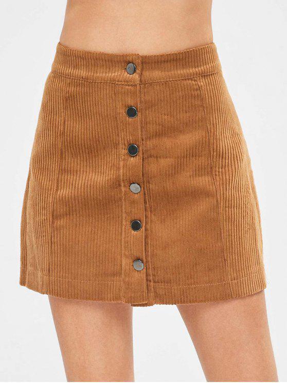 3250672e2dbe 29% OFF] 2019 Button Through Mini Corduroy Skirt In BROWN | ZAFUL