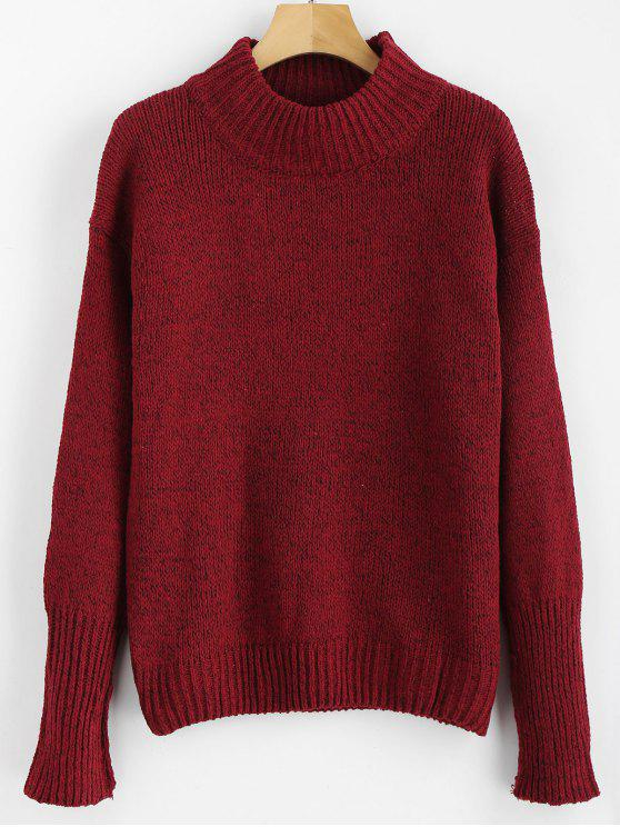 shops Mixed Yarn Sweater - RED WINE ONE SIZE