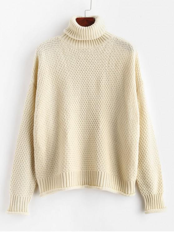 affordable ZAFUL Turtleneck Boxy Drop Shoulder Sweater - WARM WHITE M