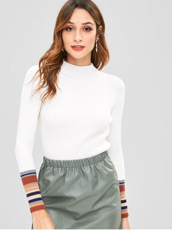 new Striped Trim Slim Ribbed Sweater - WHITE ONE SIZE