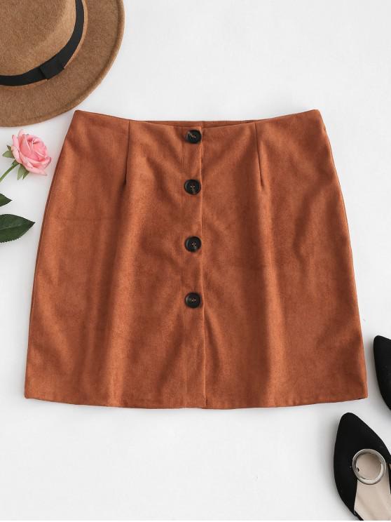 shops Button Down Suede Skirt - ORANGE SALMON M