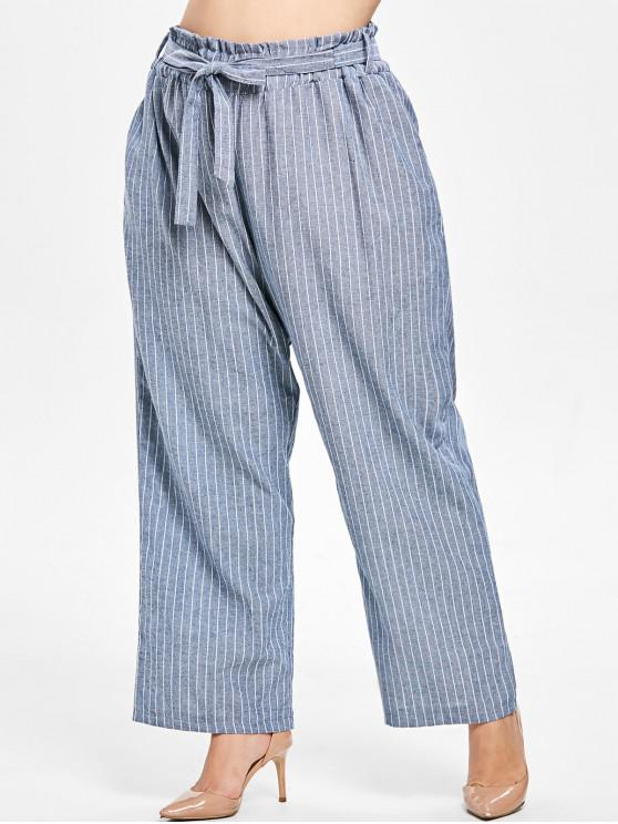 women Elastic Waist Belted Plus Size Striped Pants - BLUE GRAY 3X