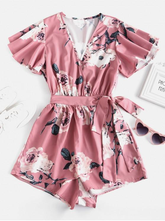 outfit Plunging Neck Floral Print Layered Romper - PINK S