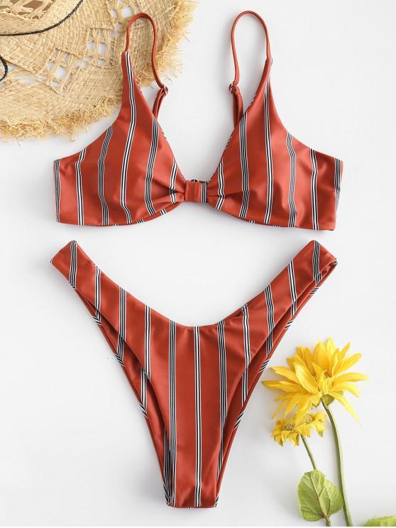 lady ZAFUL Striped Thong Bikini Set - CHESTNUT RED L
