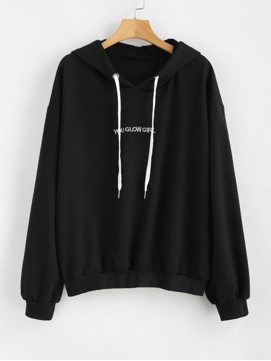 womens Letter Embroidered Plus Size Hoodie - BLACK 1X