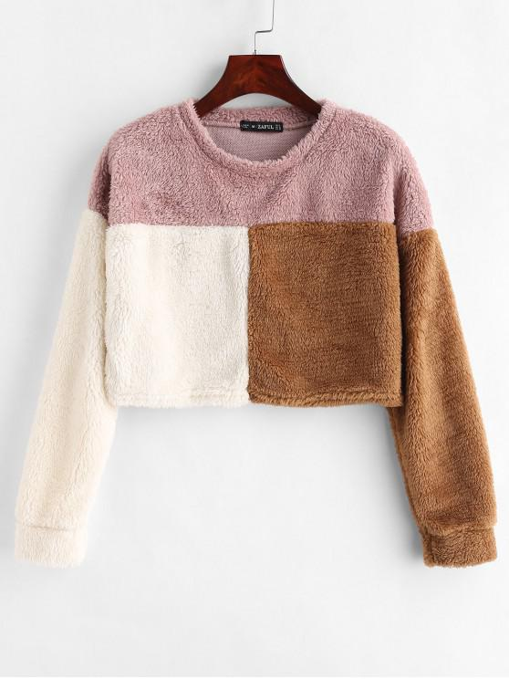 latest ZAFUL Three Tone Crop Fluffy Sweatshirt - MULTI M