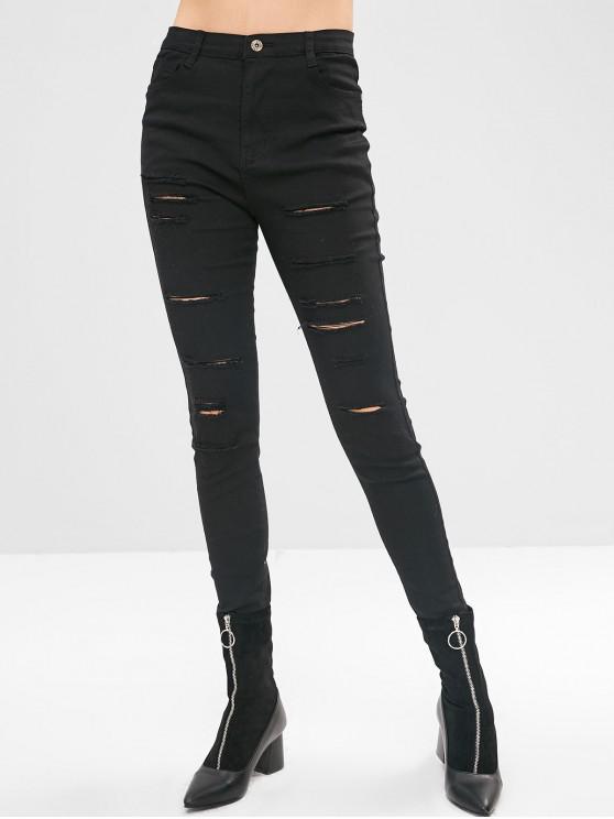 Pantalon Moulant Déchiré - Noir M