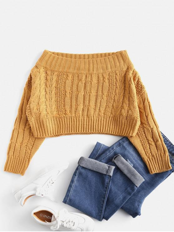 fashion Chunky Cable Knit Off Shoulder Sweater - MUSTARD ONE SIZE