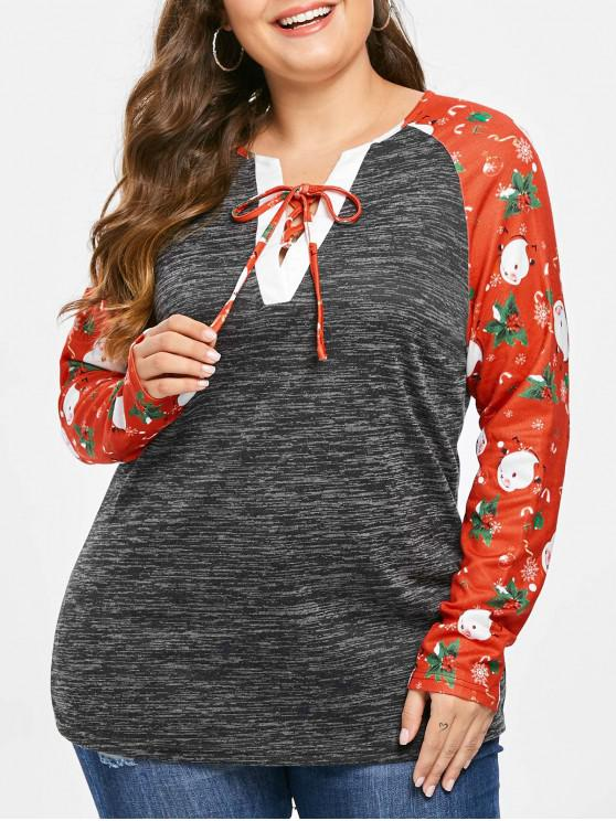 buy Plus Size Christmas Printed Marled T-shirt - DARK SLATE GREY L