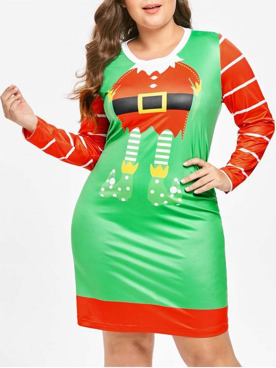 Plus Size Long Sleeves Santa Claus Christmas Dress - 多 L