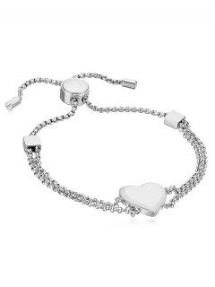 Heart Decor Metal Layered Bracelet - Silver