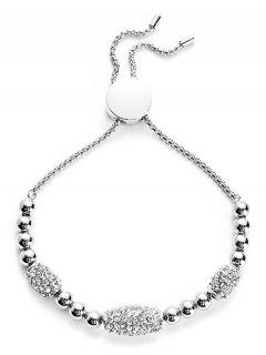 Rhinestone Embellished Alloy Bracelet - Silver