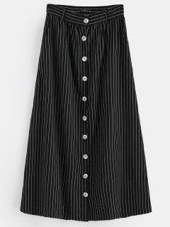 ZAFUL Button Up Stripes Maxi Skirt - Black L