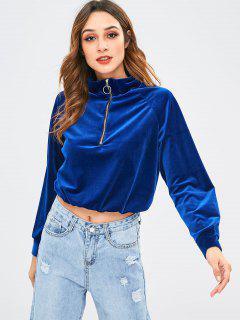ZAFUL Half Zip Velvet Sweatshirt - Blue S