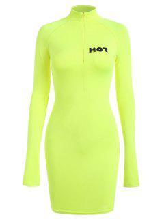 High Neck Letter Bodycon Dress - Tea Green S