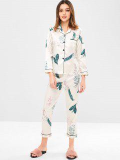Camisa De Bolsillo Con Flores Y Pantalón De Pijama - Crema De Cristal M