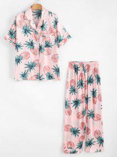 Ensemble De Pyjama Chemise Ananas En Satin Et De Pantalon - Rose Léger  L