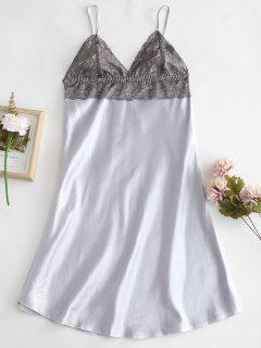 Slip Lace Insert Lingerie Dress - Platinum