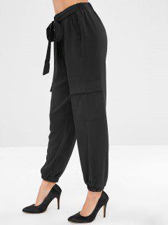 Elastic Waist Tied Pants With Pocket - Black L