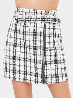 Buckled Checked Mini Tweed Skirt - Multi L