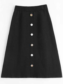 Knit Buttoned A Line Skirt - Black