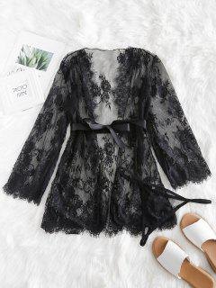 See Thru Lace Robe With G-string - Black 2xl