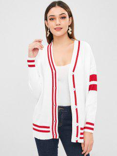 Loose Button Up Striped Cardigan - White