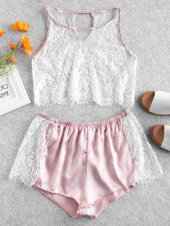 Lace Insert Satin Crop Pyjama Set - Pink S