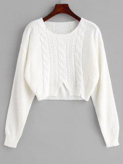 Cut Cable Knit Crop Sweater - Weiß