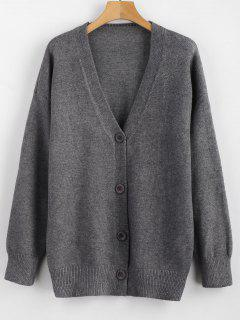 Button Up Drop Schulterlose Strickjacke - Grau