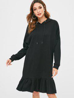 Ruffle Hem Terry Oversized Hoodie Dress - Black M