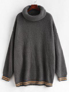 Striped Loose Turtleneck Sweater - Carbon Gray L