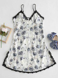 Floral Lace Insert Slit Sleep Dress - Black