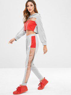Color Block See Thru Pants Set - Gray M