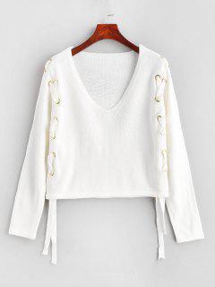 V Neck Lace Up Plain Sweater - White S
