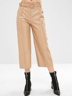 Pantalones De Cuero De Imitación De Pierna Ancha - Camel Marrón M