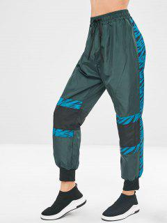 Drawstring Contrast Print Jogger Pants - Dark Green S