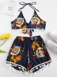 Floral Tassel Halter Shorts Set - Cadetblue L