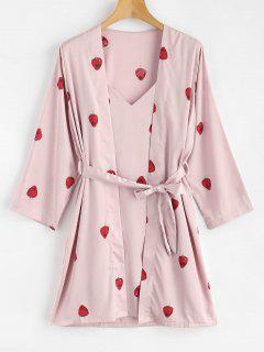 Satin Strawberry Print Sleep Pajamas Set - Light Pink M