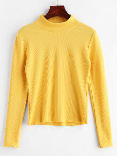 Ribbed Plain Long Sleeve Top - Bright Yellow M