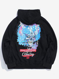 Skull Graphic Pullover Hoodie - Black M