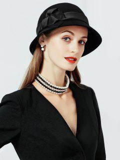 Solid Color Wool Cloche Hat - Black