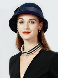 Solid Color Wool Cloche Hat - Deep Blue