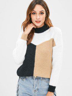 Drop Shoulder Tricolor Color Block Sweater - Black