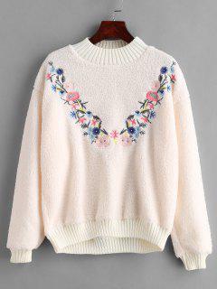 Floral Embroidered Fluffy Sweatshirt - Warm White