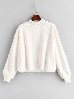 Fluffy Mock Neck Faux Fur Valentine Sweatshirt - White