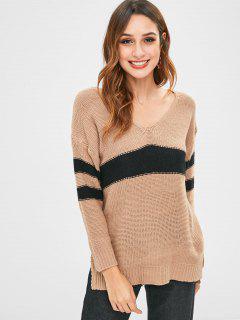Farbblock High Low Pullover Pullover - Tan